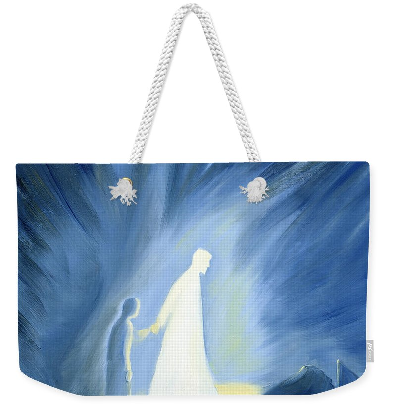 Light; Help; Guidance; Faith; Trust;catholic;catholicism;guiding;helping;aiding; Suffering; Caring; Spiritual; Savior;protector;love;bright;spiritual;religion;religious; Darkness Weekender Tote Bag featuring the painting Even In The Darkness Of Out Sufferings Jesus Is Close To Us by Elizabeth Wang