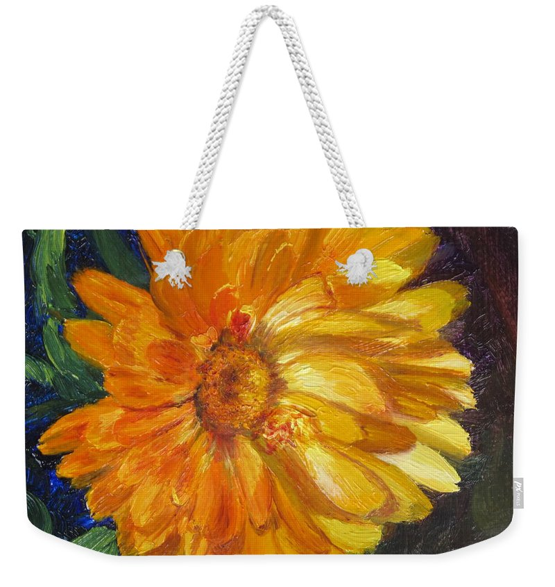 Flower Painting Weekender Tote Bag featuring the painting Even The Flowers In Autumn Are Golden by Lea Novak