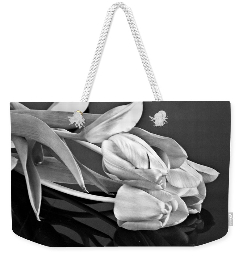 Tulips Weekender Tote Bag featuring the photograph Even Tulips Are Beautiful In Black And White by Sherry Hallemeier