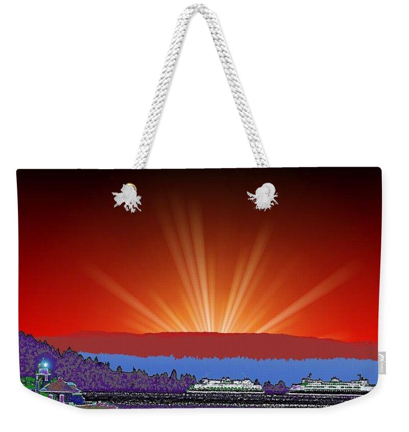 Evening Weekender Tote Bag featuring the digital art Evening At Alki by Tim Allen