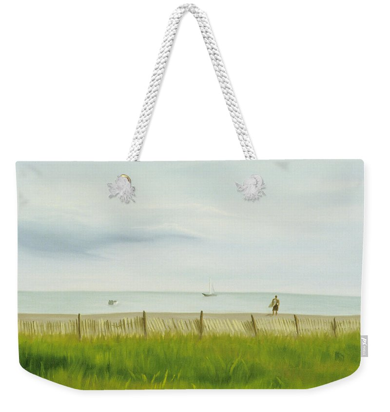 Seascape Weekender Tote Bag featuring the painting Evening At Cape May by Lea Novak