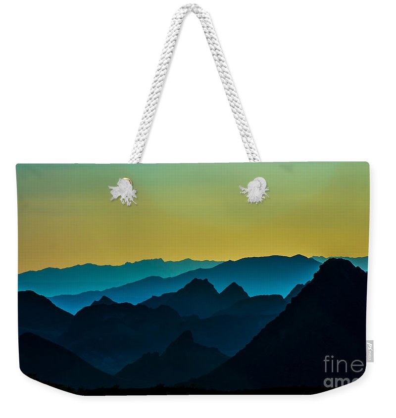 Mountains Weekender Tote Bag featuring the photograph Evening At Lake Mead by Stephen Whalen
