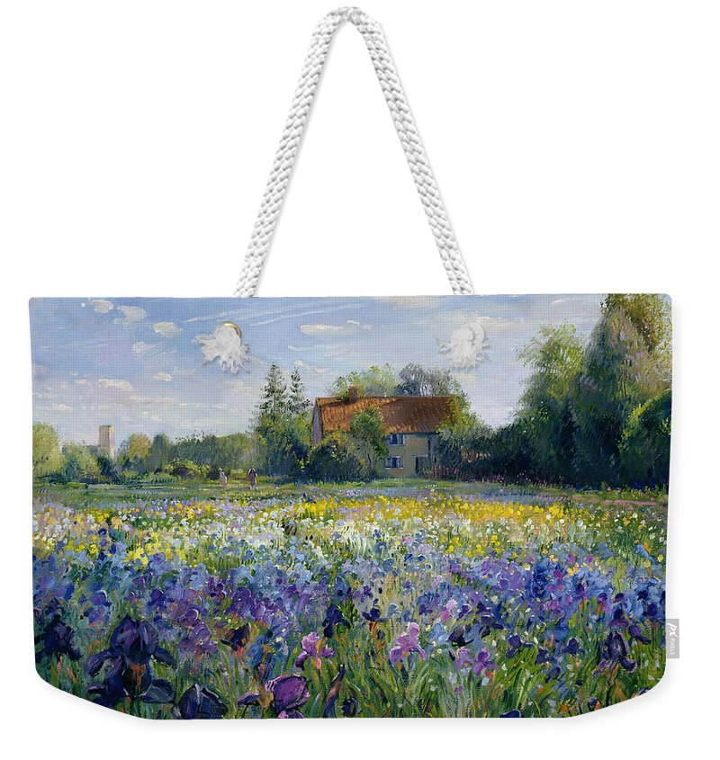 Landscape; Market Gardening; Flowers; Horticulture;cottage; Summer; Rural; Irises; Landscapes Weekender Tote Bag featuring the painting Evening at the Iris Field by Timothy Easton