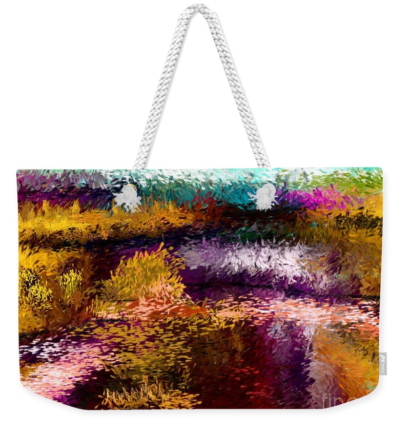 Abstract Weekender Tote Bag featuring the digital art Evening At The Pond by David Lane