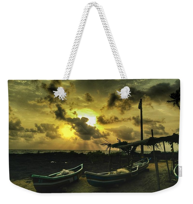 Sunset Weekender Tote Bag featuring the photograph Evening Beach by Evan Dantas