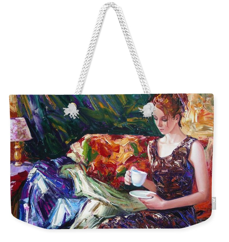Figurative Weekender Tote Bag featuring the painting Evening coffee by Sergey Ignatenko