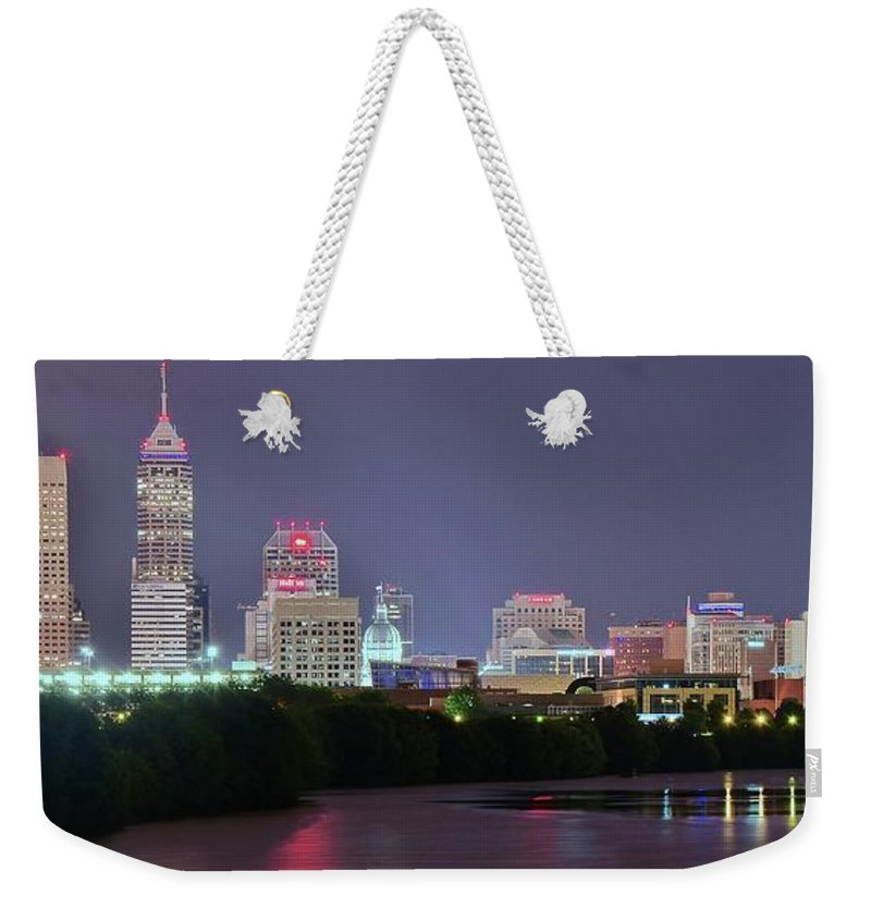 Indianapolis Weekender Tote Bag featuring the photograph Evening Falls On Indianapolis by Frozen in Time Fine Art Photography