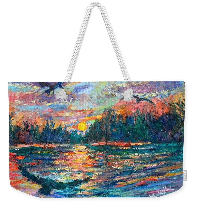 Landscape Weekender Tote Bag featuring the painting Evening Flight by Kendall Kessler
