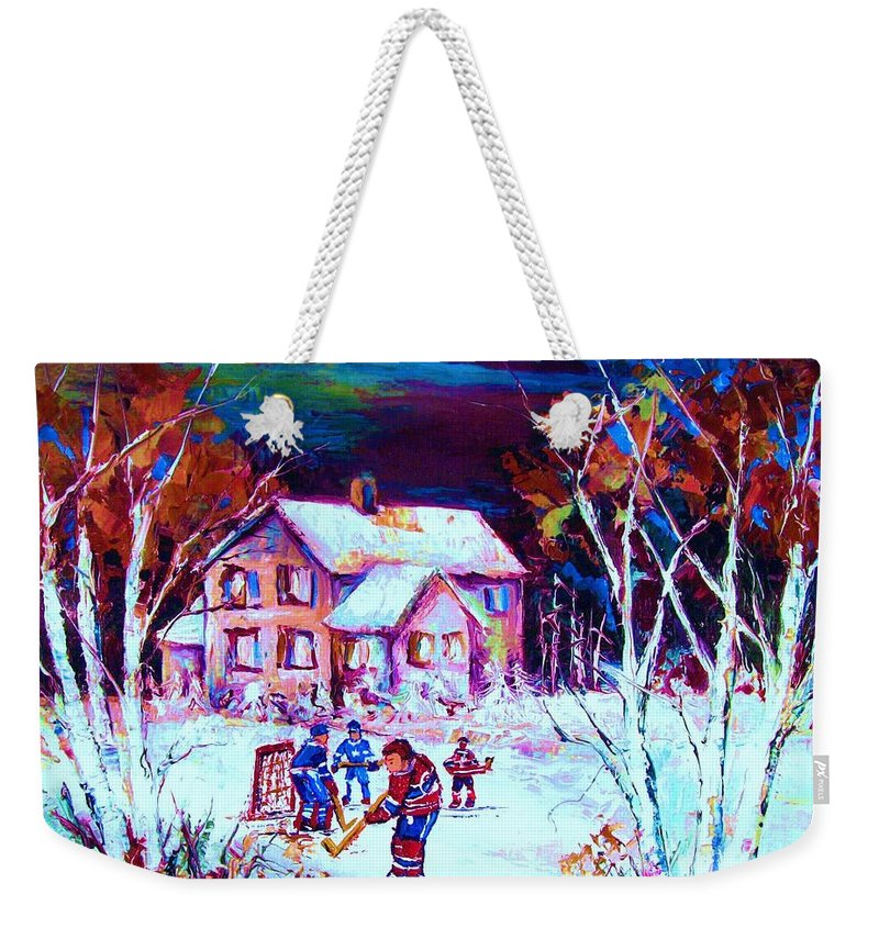 Hockey Game In The Country Weekender Tote Bag featuring the painting Evening Game At The Chalet by Carole Spandau