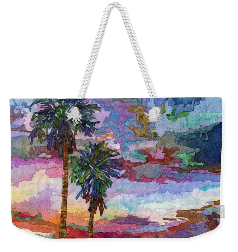 Sunset Weekender Tote Bag featuring the painting Evening Glow by Hailey E Herrera