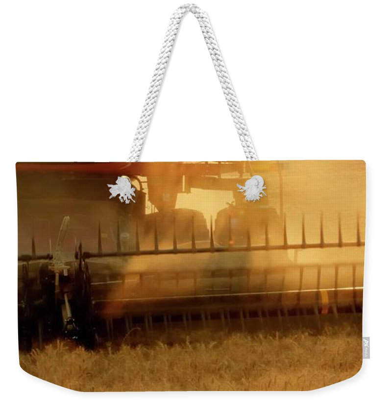 Wheat Weekender Tote Bag featuring the photograph Evening Harvest 1454 by Jerry Sodorff