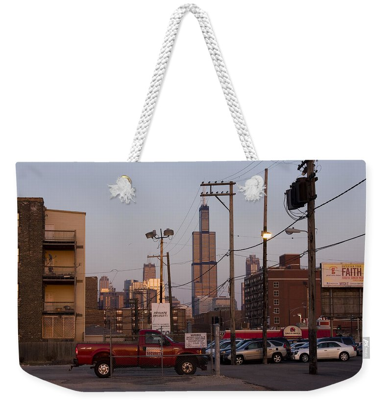 Chicago Car Windy City Tower Urban Tall High Building Skyscraper Weekender Tote Bag featuring the photograph Evening In Chicago by Andrei Shliakhau