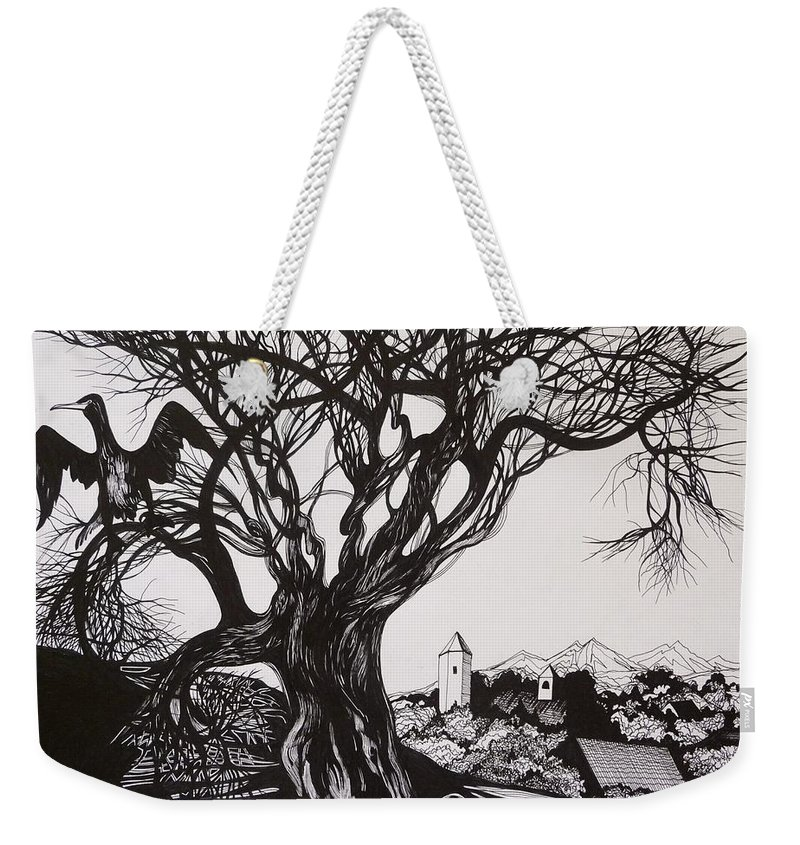 Pen And Ink Weekender Tote Bag featuring the drawing Evening In Midnapore by Anna Duyunova