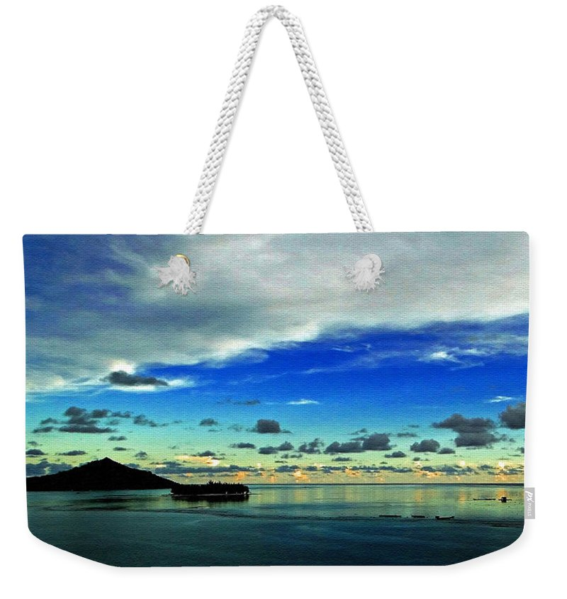Sunset Weekender Tote Bag featuring the photograph Evening In Paradise Panoramic by Sue Melvin