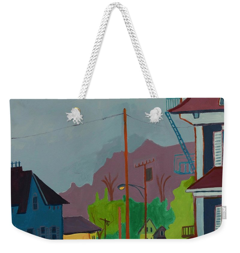 Town Weekender Tote Bag featuring the painting Evening In Town Chelmsford Ma by Debra Bretton Robinson