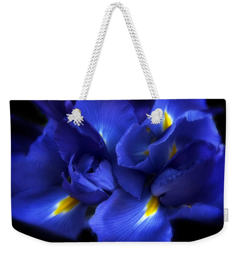 Flowers Weekender Tote Bag featuring the photograph Evening Iris by Jessica Jenney
