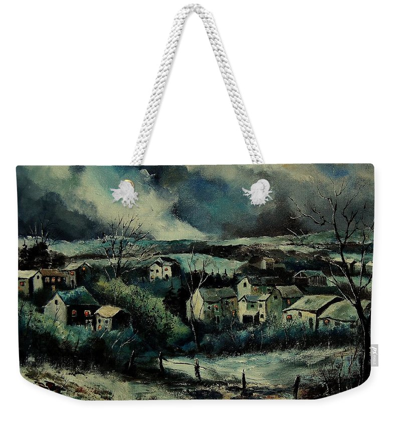 Village Weekender Tote Bag featuring the painting Evening Is Falling by Pol Ledent