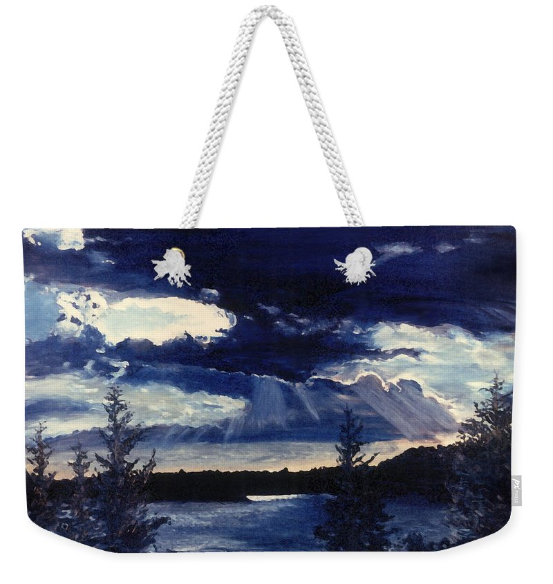 Landscape Weekender Tote Bag featuring the painting Evening Lake by Steve Karol