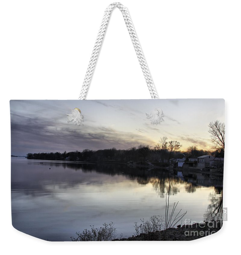 Lake Champlain Weekender Tote Bag featuring the photograph Evening Light On Lake Champlain by Deborah Benoit