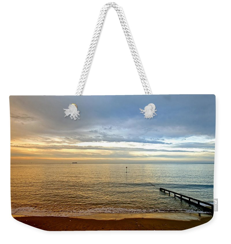 Europe Weekender Tote Bag featuring the photograph Evening Light On Shanklin Beach by Rod Johnson