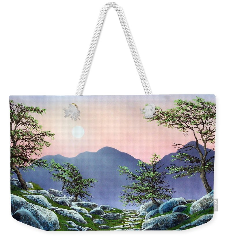 Evening Moonrise Weekender Tote Bag featuring the painting Evening Moonrise by Frank Wilson