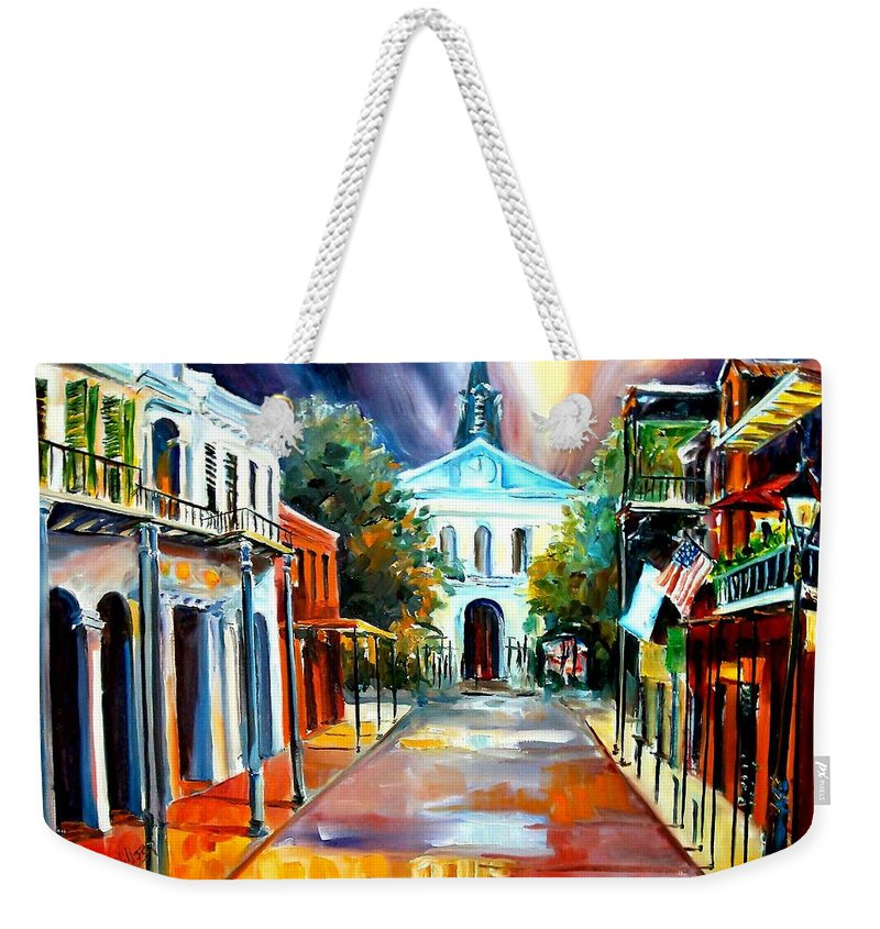 New Orleans Weekender Tote Bag featuring the painting Evening On Orleans Street by Diane Millsap