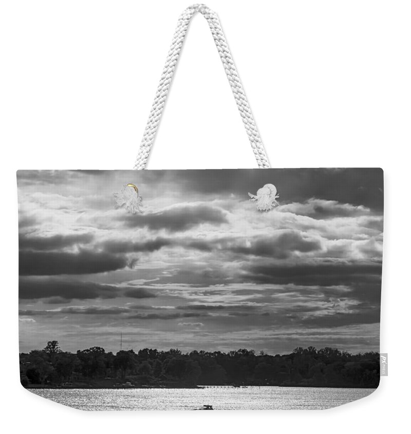 2d Weekender Tote Bag featuring the photograph Evening On South River - Bw by Brian Wallace