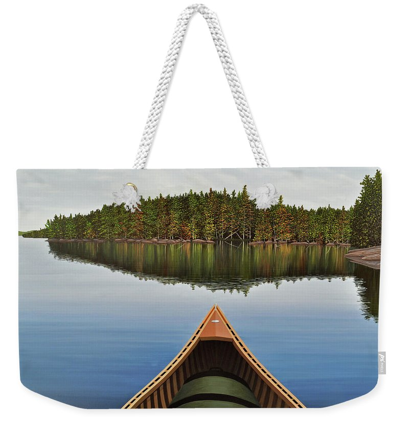 Landscapes Weekender Tote Bag featuring the painting Evening Paddle by Kenneth M Kirsch