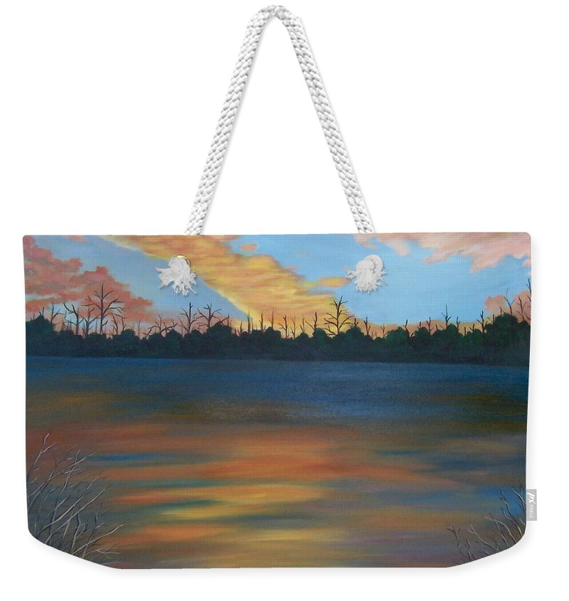 Landscape Weekender Tote Bag featuring the painting Evening Peace by Ruth Housley