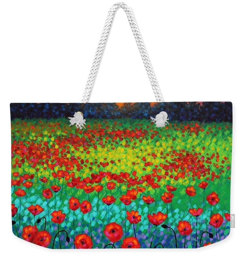 Acrylic Weekender Tote Bag featuring the painting Evening Poppies by John Nolan