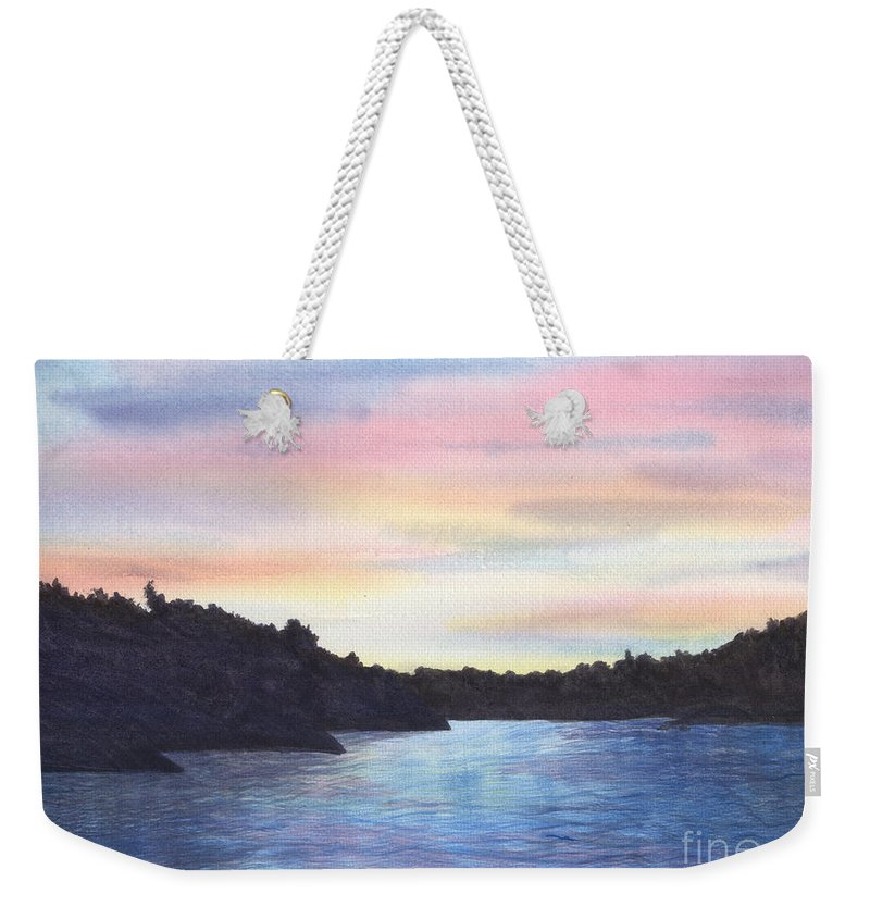 Sunset Weekender Tote Bag featuring the painting Evening Silhouette by Lynn Quinn