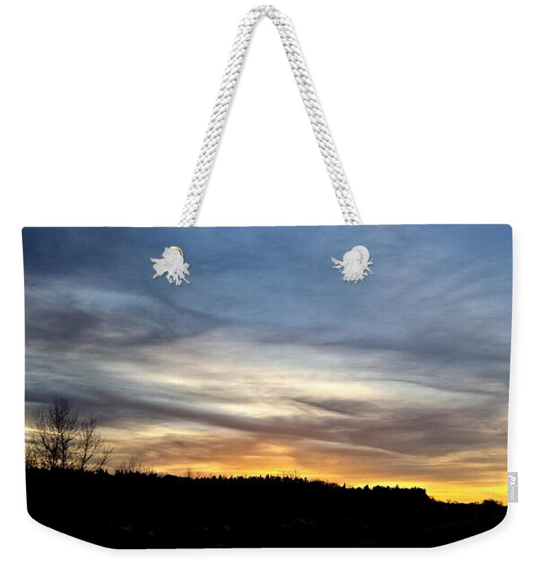 Montana Weekender Tote Bag featuring the digital art Evening Sky 1 by Susan Kinney