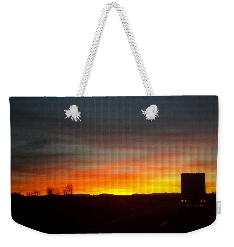 Montana Weekender Tote Bag featuring the digital art Evening Sky 8 by Susan Kinney