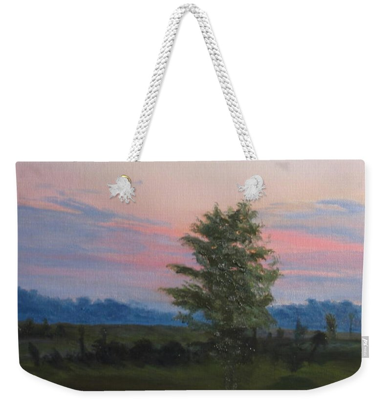 Landscape Weekender Tote Bag featuring the painting Evening Sky by Lea Novak