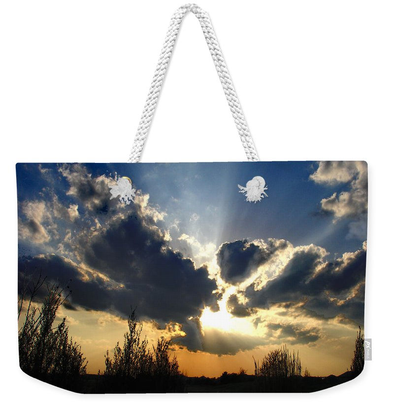 Landscape Weekender Tote Bag featuring the photograph Evening Sky by Steve Karol