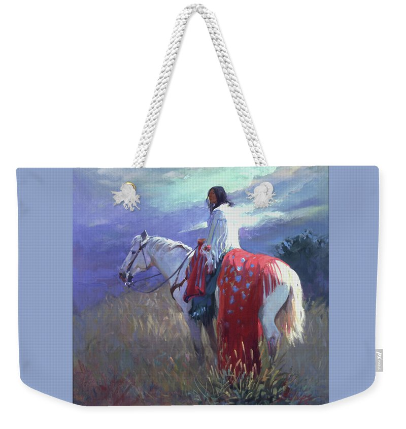 Native American Weekender Tote Bag featuring the digital art Evening Solitude L. E. P. by Betty Jean Billups