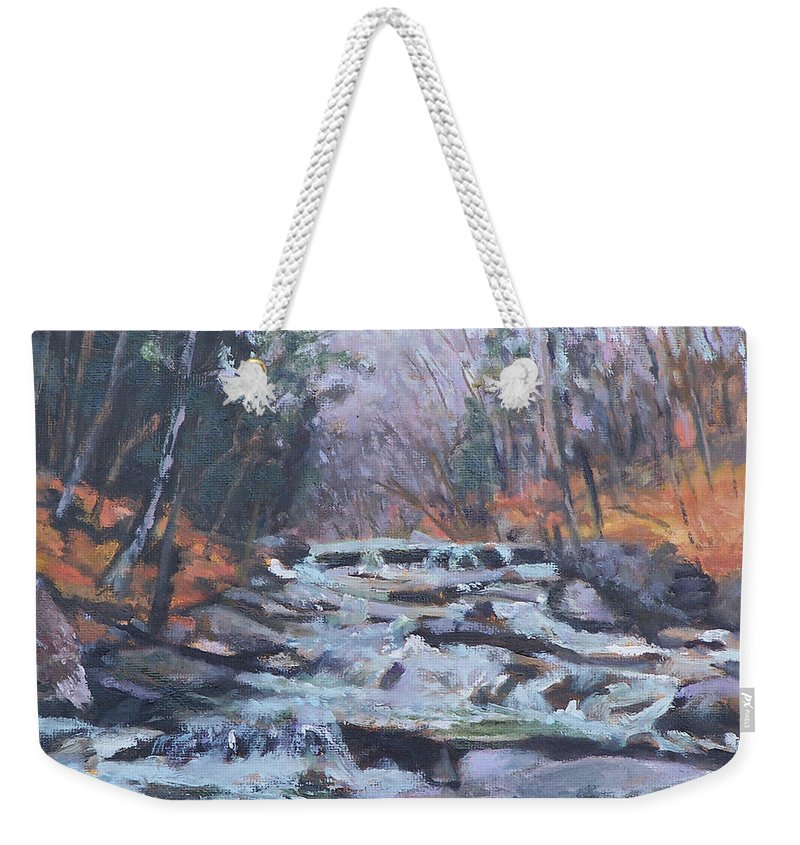 Vt Weekender Tote Bag featuring the painting Evening Spillway by Alicia Drakiotes