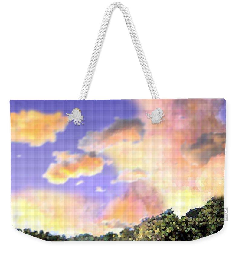 Landscape Weekender Tote Bag featuring the digital art Evening Star by Steve Karol