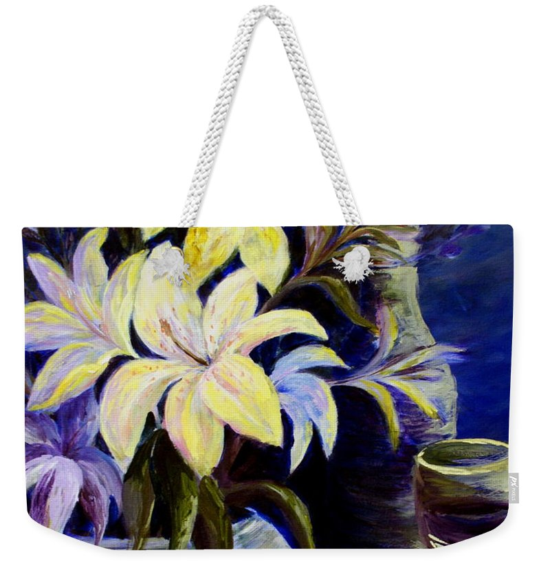 Lilies Weekender Tote Bag featuring the painting Evening Stars by Joanne Smoley