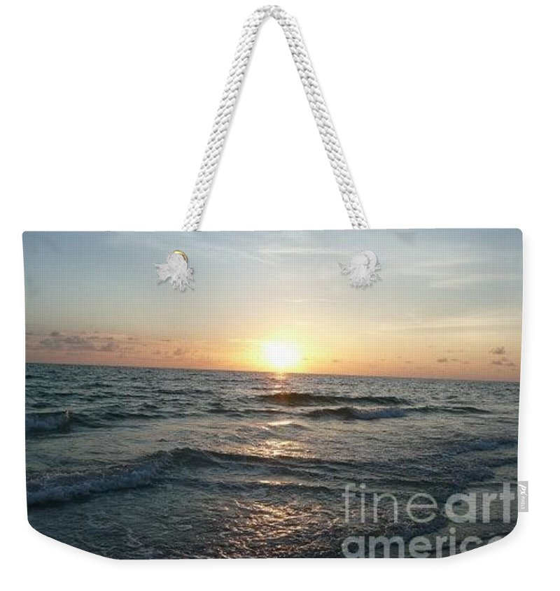Sunset Weekender Tote Bag featuring the photograph Evening Sunset by Barb Montanye Meseroll