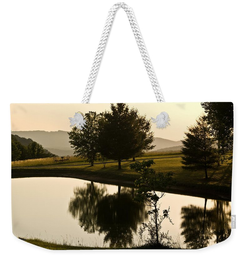 Farm Weekender Tote Bag featuring the photograph Evening Tide On The Farm by Douglas Barnett