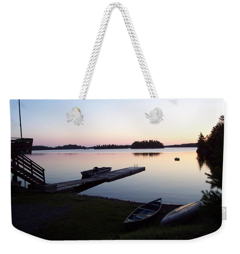 Nature Weekender Tote Bag featuring the photograph Evening Water Bliss by Mary Mikawoz