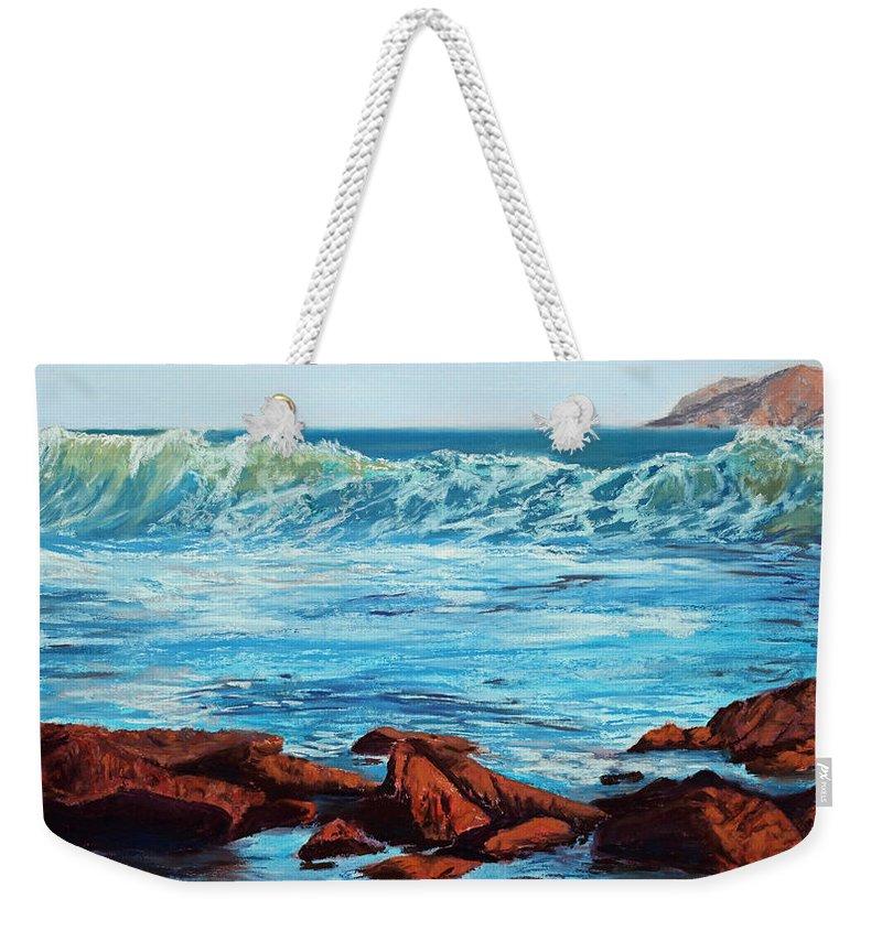 Ocean Weekender Tote Bag featuring the painting Evening Waves by Mary Benke