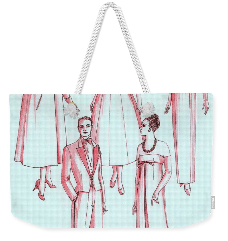 Fashion Weekender Tote Bag featuring the photograph Evening Wear, 1956 by Science Source