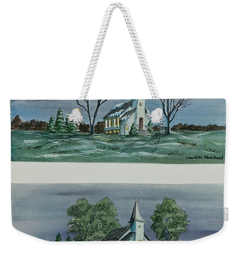 Country Church Weekender Tote Bag featuring the painting Evening Worship In Winter And Summer by Charlotte Blanchard