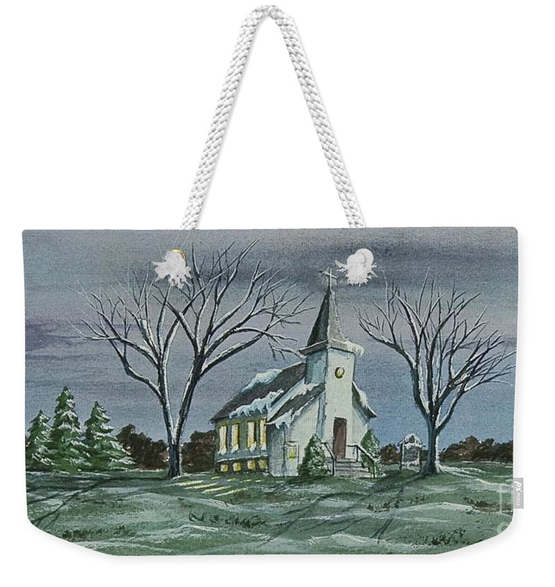 Country Church Painting Weekender Tote Bag featuring the painting Evening Worship In Winter by Charlotte Blanchard