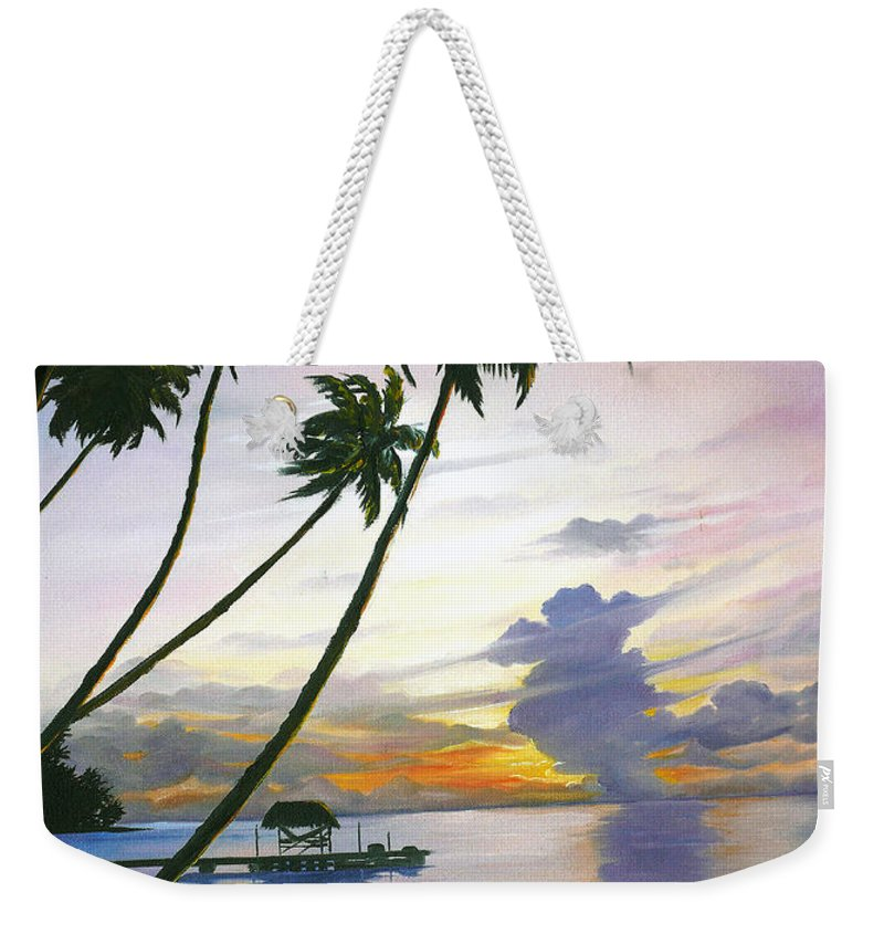 Ocean Painting Seascape Painting Beach Painting Sunset Painting Tropical Painting Tropical Painting Palm Tree Painting Tobago Painting Caribbean Painting Original Oil Of The Sun Setting Over Pigeon Point Tobago Weekender Tote Bag featuring the painting Eventide Tobago by Karin Dawn Kelshall- Best