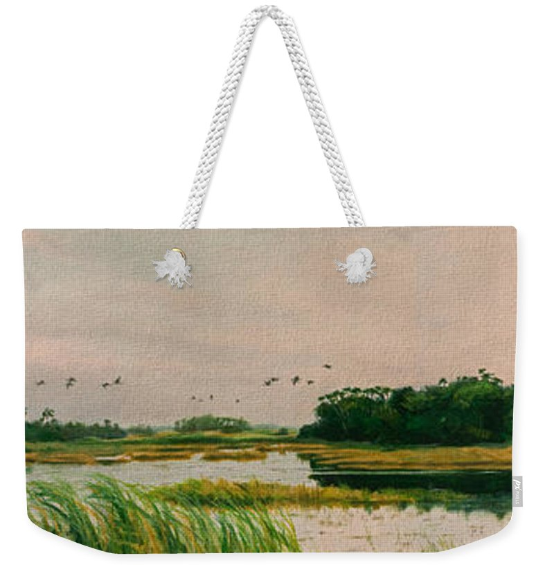 Landscape Weekender Tote Bag featuring the painting Everglades Dawn by Carol McArdle