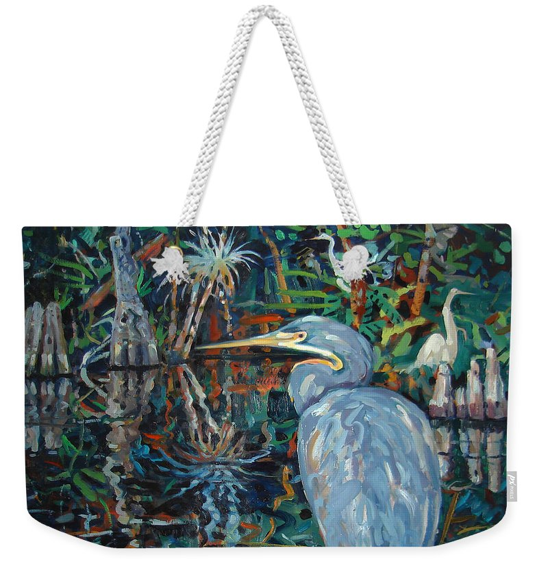 Blue Herron Weekender Tote Bag featuring the painting Everglades by Donald Maier
