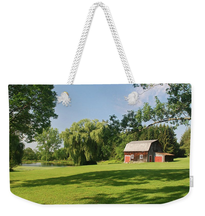 Barn Weekender Tote Bag featuring the photograph Evergreen Trails 7525 by Guy Whiteley